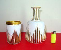 Biedermeier Nachtkaraffe  Decanter Überfangglas um 1830 carafe Vergoldung Glas