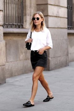 black denim skirt Minimalist fashion and style, Scandinavian style, black and white, monochromatic fashion. Love this look? Head to www.hercouturelife.com for more minimalist style inspiration!