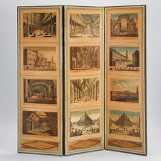 French Directoire Style Folding Screen with European Architectural Scenes - Image 2 of 11