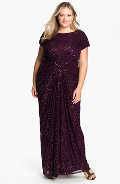 Tadashi Shoji Beaded Pleated Gown (Plus) available at #Nordstrom