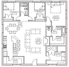 This plan offers a 40x40, 3 bedroom, 2 bath building that can be plopped on any plot of land! Just click, order, and download to obtain the dimension-ed and scaled floor plan of this little treasure for use on your own property!  Perfect for use as a mountain or lake house, beach hut, or an everyday Porch House Plans, Small House Floor Plans, Courtyard House Plans, Simple House Plans, Basement House Plans, Lake House Plans, Duplex House Plans, House Plans One Story, Family House Plans