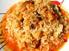 μικρή κουζίνα: Γαριδομυδοπίλαφο Fried Rice, Risotto, Fries, Ethnic Recipes, Food, Essen, Meals, Nasi Goreng, Yemek