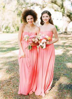 long coral bridesmaid dresses | Katie Stoops + Adam Barnes #wedding