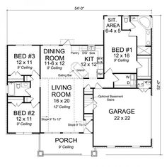 656150 3 bedroom 2 bath craftsman with master sitting area and split floor plan