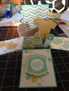 Card in a box using Something for Baby stamp and framelits. Need to start experimenting making these kind of cards! Fun Fold Cards, Folded Cards, Cute Cards, Flip Cards, Baby Shower Cards, Baby Cards, Kids Cards, Card In A Box, Pop Up Box Cards