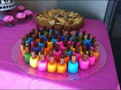 Spa Party Food Ideas Colored Marshmallows With A Tootsie Roll On Top How