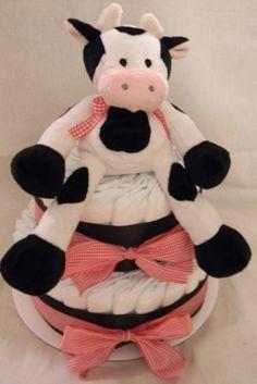 Baby BARNYARD COW Diaper Cake  Farm Plush  Gingham by BabyCakeLane, $39.95