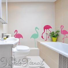 Flamingo Bathroom Decor Accessories for Your Teen Girl Flamingo Bathroom, Tropical Bathroom, Budget Bathroom, Bathroom Wall Decor, Room Decor, Bathroom Ideas, Removable Wall Decals, Vinyl Wall Decals, Wall Decor Crafts