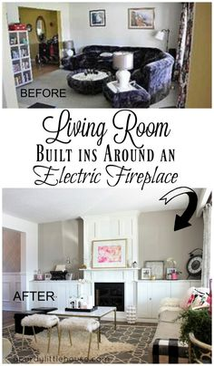 Living Room Built ins around a white electric fireplace. Check out all the how to steps
