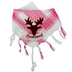 zünftiges babyhalstuch mit appliziertem hirschkopf und stickerei *spatzerl*.  das tuch ist mit frottee gefüttert und und hat einen praktischen klettverschluß. tolles geschenk zur geburt.  100 % baumwolle  farbe: rosa