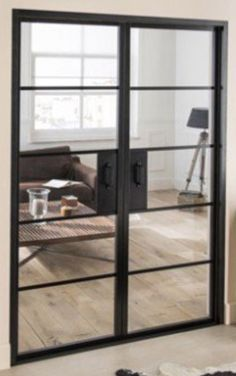 For Sale are a pair of Crittall Style Interior Double Doors. Manufactured in Aluminium with tempered glass. They come with the doors pre-hung in their wooden frame, which makes foreasy installation. French Doors Inside, Interior Double French Doors, Door Dividers, Room Divider Doors, Industrial Interiors, Industrial Style, Industrial Metal, Crittal Doors, Crittall Windows