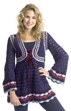 Buy Free Pattern Caron Renaissance Tunic from the Crochet Patterns range at Hobbycraft. Free UK Delivery over and Free Returns. Crochet Geek, All Free Crochet, Knit Crochet, Crochet Sweaters, Crochet Tops, Crochet Jumpers, Tunisian Crochet, Crochet Blouse, Caron Simply Soft