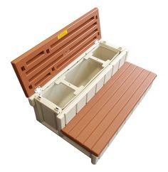 "Leisure Accents 36"" Deck Patio Spa Hot Tub Storage Compartment Steps - Redwood #LeisureAccents"