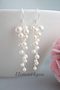 Pearl Wedding Earrings. Bridal Earrings. Statement by Element4you