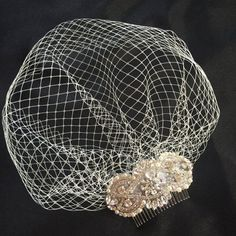 Vintage Crystal Birdcage Veil and Comb , Bridal Comb ,Crystal Veil and ivory pearls ivory veil with pearls bride head piece bridal comb Bridal Comb, Bridal Headpieces, Bridal Updo, Fascinator Hats, Fascinators, Wedding Dress Bolero, Elegante Y Chic, Ivory Veil, Vintage Headpiece