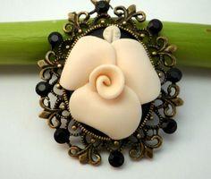 White Rose Cameo Pendant on Chocolate Brown by BijottiCiciotti, $24.00