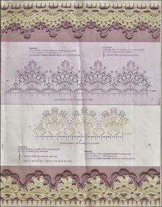 Patrones de puntillas para decoración realizadas en hilo al crochet con combinación de colores - 10 modelos