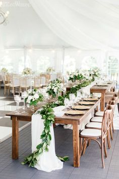 S- Like the farm table/ greenery floral runner with white draping under. Farm Table Wedding, Wedding Reception Tables, Reception Ideas, Outdoor Wedding Tables, Outdoor Wedding Centerpieces, Wedding Ceremony, Wedding Venues, Ceremony Signs, Cake Wedding