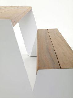 Detail-Aufnahme von innovativen zeitgenössischen Outdoor Design The Hopper Tisch und Sitz von Extremis Homesthetics (1)
