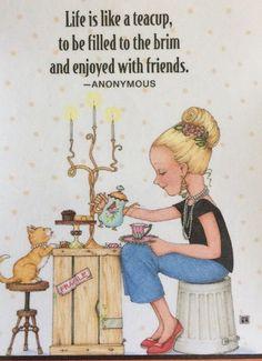 Life Is Like A Teacup-Handmade Fridge Magnet-Mary Engelbreit Artwork