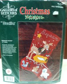 Bucilla Felt Christmas Stocking Kit MANGER SCENE 32694 NEW Gallery Of Stitches Christmas Stocking Kits, Felt Christmas Stockings, Stitches, Applique, Scene, Embroidery, Holiday Decor, Gallery, Stitching