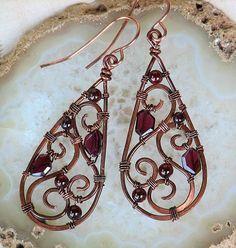 Copper Filigree Wire Wrapped Earrings Red Garnet Spirals    OwlHollowStudio - Jewelry on ArtFire