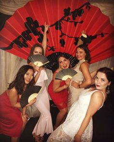 Oriental Chinese Fan Prop - Red | Around The World Prop Hire | Around the World Theme | Event Prop Hire
