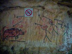 Imitaciones de pictografías en la Cueva del Jabalí, #CayoCoco.