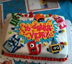 Love Yo Gabba Gabba? Here is a cute cake and some cool party ideas for a Yo Gabba Gabba fan!     The cake was a devils food cake with chocolate buttercream icing. The fondant used on the cake was homemade marshmallow fondant. Each character was drawn out ahead of time and then created out of gumpaste.