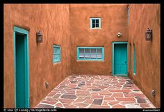 Adobe Courtyards | : Courtyard and adobe walls. Taos, New Mexico, USA - Would look great with chairs and a few plants - Great outdoor room.
