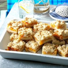 Peach Crumb Bars Recipe -I had the most beautiful peaches and really wanted to bake with them. I started with my blueberry crumb bar recipe, and after a couple of tries, I am so happy with the results. My co-worker taste-testers are, too! —Amy Burns, Newman, Illinois