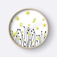 Yellow Wildflower by Watercolor and ink minimal yellow wildflower design Floral Flowers, Wild Flowers, Yellow Wildflowers, Quartz Clock Mechanism, Minimal Design, Watercolor And Ink, Hand Coloring, Clocks, Art Decor