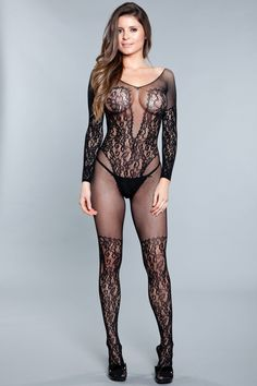 Imported One Size Bodystocking 92% Nylon 8% Spandex Black WIC Bodystocking split split Superenge Jeans, Wicked, Sheer Lingerie, Gothic Lingerie, French Lingerie, Women Lingerie, Bikini, Night Outfits, Boujee Outfits