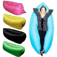 "Relax anywhere with the popular inflatable ""Hangout Bag"" air lounger suitable for the outdoors, festivals, beaches, camping, hiking and more. The inflatable Hangout Bag lounge is suitable for use anyw"