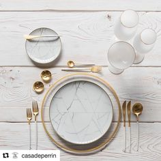 Our Halo Glass Chargers in Gold + Carrara Dinnerware + Goa Flatware in Brushed Gold/White + Bella Gold Rimmed Stemware in White + Gold Salt Cellars + Tiny Gold Spoons - Home Decor Gold Cutlery, Cutlery Set, Flatware, Goa, Deco Table, Decoration Table, Kitchenware, Crockery Set, Dinnerware