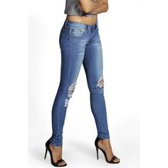 Boohoo Laura Distressed Rip Knee Skinny Jeans ($35) ❤ liked on Polyvore