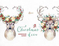 Kerst herten 2. Aquarel herten gewei, bloemen, handgeschilderde clipart, rendieren, bloemen, uitnodigen, land, diy illustraties, hoorns, vakantie