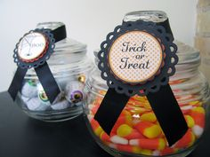 Treat toppers using Lifestyle Crafts Halloween digital printables. #halloween