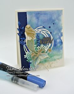 I created a fun underwater mermaid card for the Global Design Project color challenge using Night of Navy, Tranquil Tide, and Crumb Cake. My card also includes a smooched watercolor background and foil colored with Stampin' Blends. Handmade Greetings, Greeting Cards Handmade, Mermaid Quotes, Mermaid Kisses, Nautical Cards, Beach Cards, Fantasy Mermaids, Rainbow Card, Paint Cards