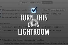 having Lightroom automatically save your changes, but this setting is off by default. This is where to turn it on. Photoshop Photography, Photography Tutorials, Photography Tips, Photography Business, Lightroom Tutorial, Photoshop Tips, Photo Processing, Photo Tips, Canon Lens