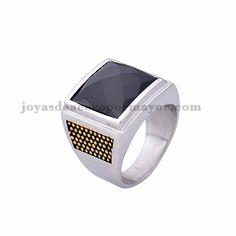 anillo de piedra negra en acero plateado inoxidable -SSRGG371802