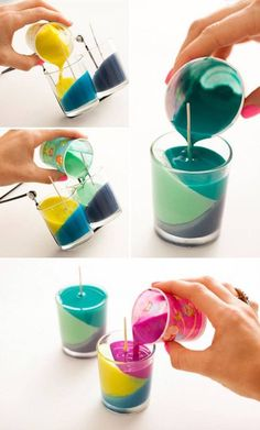 Use Crayons to Create Color Block Candles - Diy Art Crafts Kids Crafts, Cute Crafts, Creative Crafts, Diy And Crafts, Summer Crafts, Diy Projects To Try, Craft Projects, Art Diy, Creation Deco