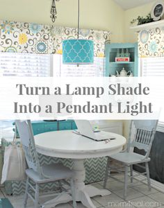 How to turn a lamp shade into a pendant light at Mom 4 Real