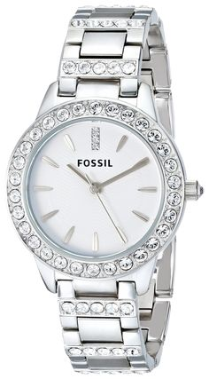 Amazon.com: Fossil Women's ES2362 Stainless Steel Bracelet Silver Glitz Analog Dial Watch: Fossil Watches: Watches