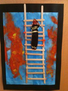 Pompier à l'échelle, avec photo des enfants déguisés et prenant la pose...