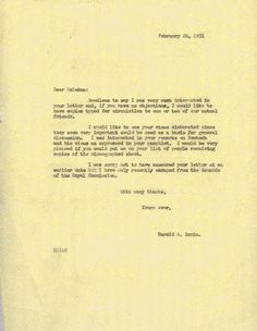 Letter from Harold Innis to Marshall McLuhan, February 26,1951. Innis is responding to a letter from McLuhan in which McLuhan suggests an interdisciplinary approach to communications studies. (For the McLuhan letter, see Letters of Marshall McLuhan, edited by Matie Molinaro et al, Toronto: Oxford University Press, 1987)