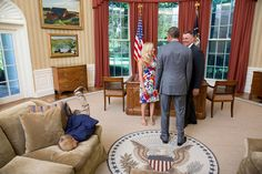 An adorable little boy was either really bored or in great need of attention when he took a header into President Obama's office couch. The hilarious picture was snapped by White House photographer Lawrence Jackson on June 23 as Obama shook hands with an outgoing Secret Service agent and his wife. The agent and his wife had no idea their son was doing a face plant of presidential proportions, and creating a photo he'll both cherish and rue for the rest of his life.