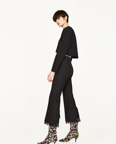 Image 4 of TROUSERS WITH LACE TRIM HEM from Zara