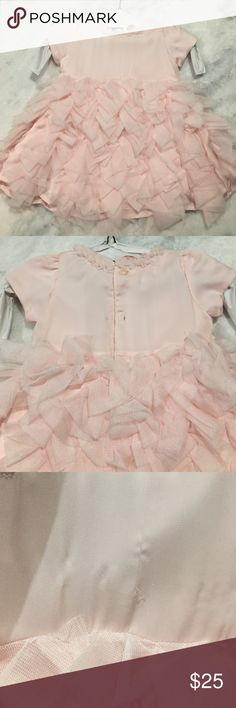 EUC - Miniclasix Pink Tulle Dress - 3 months Smoke and pet free come. Worn 2x and dry cleaned. Tag says 3 months 0-12lbs, but will fit larger in my opinion. *very tiny pull as shown in third picture miniclasix Dresses Formal