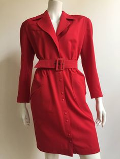 Thierry Mugler 80s red wool snap button dress with pockets size 6. | From a collection of rare vintage day dresses at https://www.1stdibs.com/fashion/clothing/day-dresses/